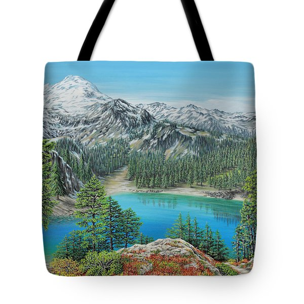 Tote Bag featuring the painting Mount Baker Wilderness by Jane Girardot