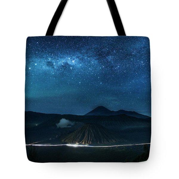 Mount Bromo Resting Under Million Stars Tote Bag