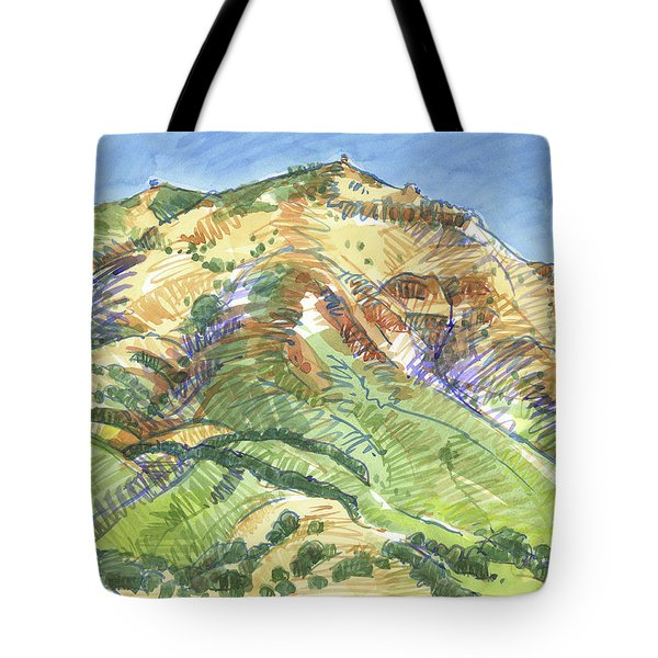 Tote Bag featuring the painting Mount Diablo From Curry Valley Ridge by Judith Kunzle