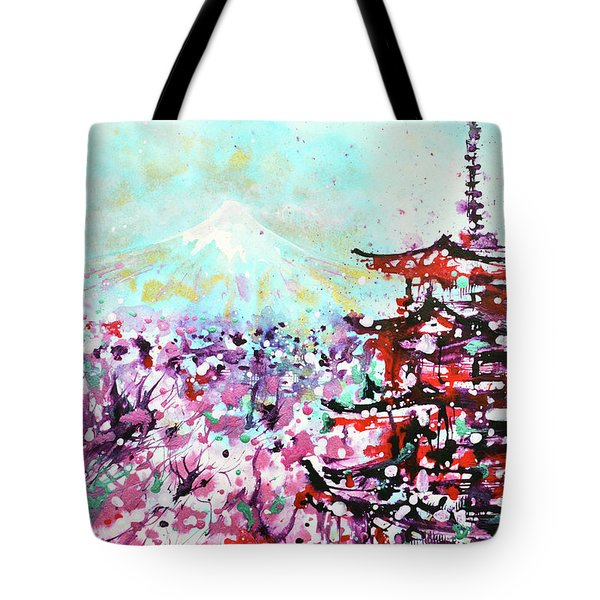 Tote Bag featuring the painting Mount Fuji And The Chureito Pagoda In Spring by Zaira Dzhaubaeva