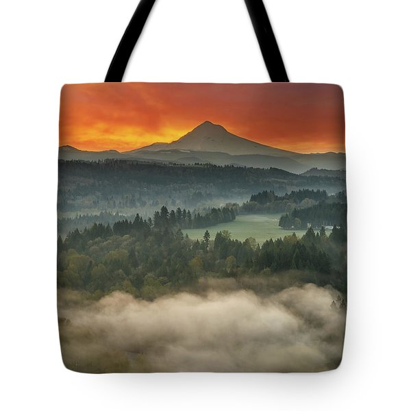 Mount Hood And Sandy River Valley Sunrise Tote Bag by David Gn