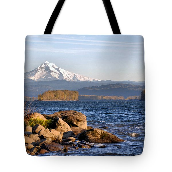 Tote Bag featuring the photograph Mount Hood And The Columbia River by Jim Walls PhotoArtist