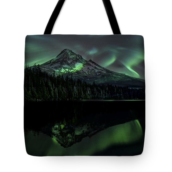 Mount Hood Aurora Borealis I Tote Bag