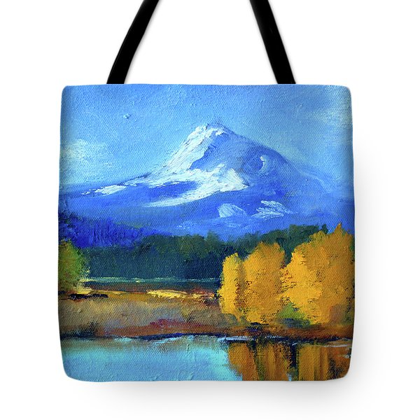 Tote Bag featuring the painting Mount Hood by Nancy Merkle