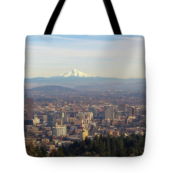Mount Hood Over City Of Portland Oregon Tote Bag by David Gn