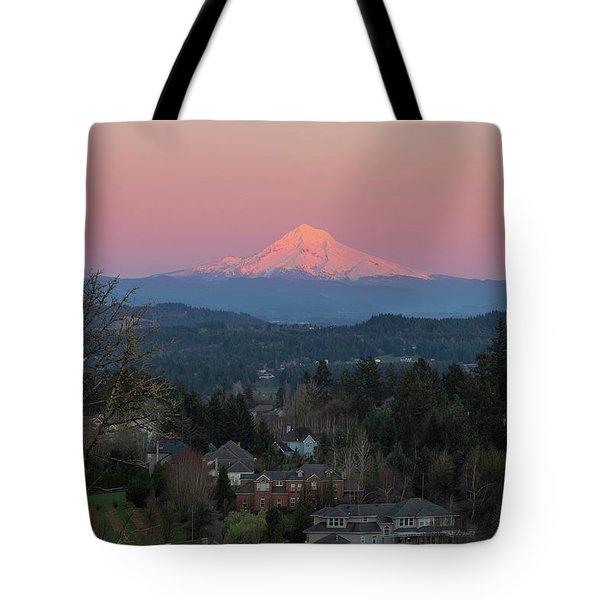 Mount Hood Over Happy Valley Oregon Tote Bag