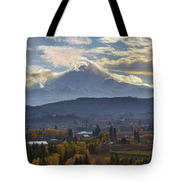 Mount Hood Over Hood River Valley In Fall Tote Bag