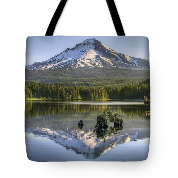 Mount Hood Reflection On Trillium Lake Tote Bag by David Gn