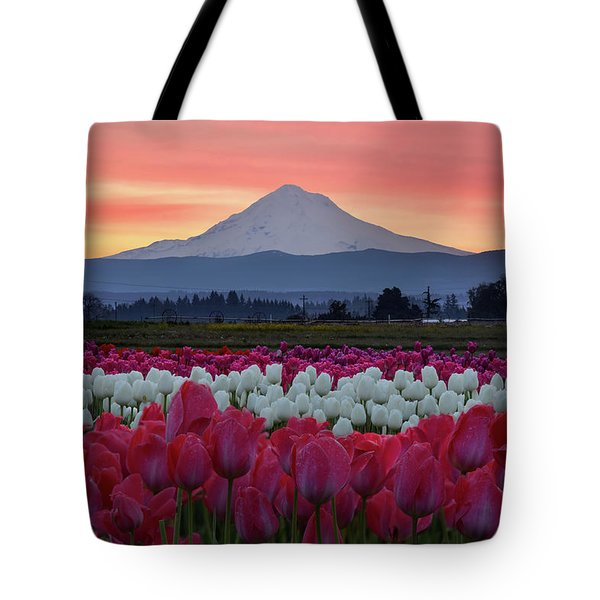 Mount Hood Sunrise With Tulips Tote Bag
