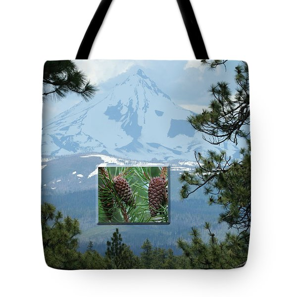 Mount Jefferson With Pines Tote Bag