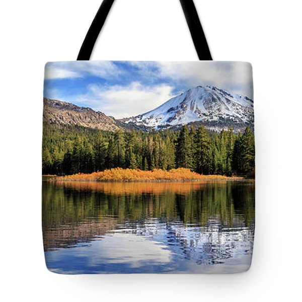 Mount Lassen Reflections Panorama Tote Bag