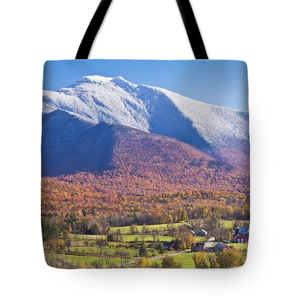 Mount Mansfield Autumn Snowfall Tote Bag by Alan L Graham