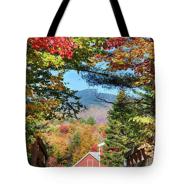 Tote Bag featuring the photograph Mount Mansfield Seen Through Fall Foliage by Jeff Folger