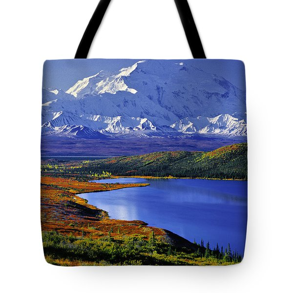 Mount Mckinley And Wonder Lake Campground In The Fall Tote Bag