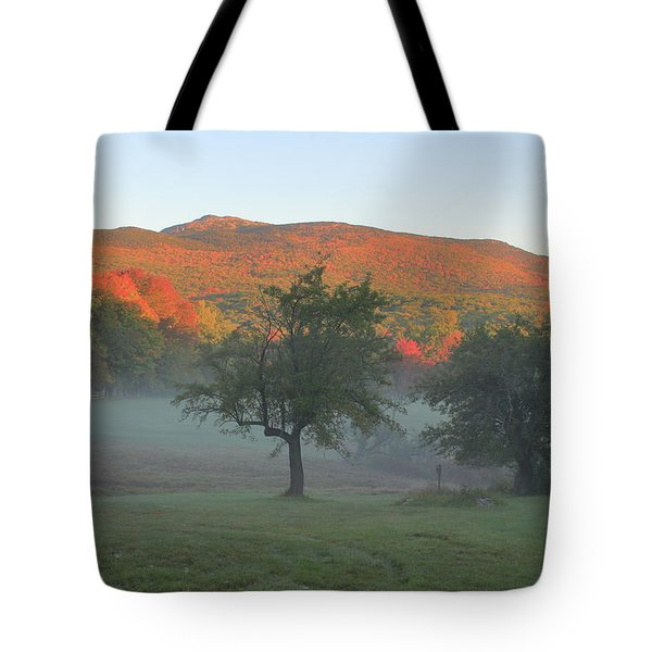 Mount Monadnock Autumn Morning Tote Bag by John Burk