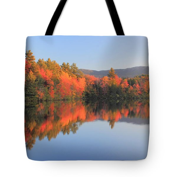 Mount Monadnock Early Autumn Reflections Tote Bag by John Burk