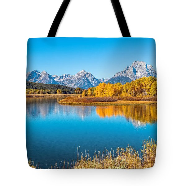 Mount Moran From The Snake River In Autumn Tote Bag by James Udall
