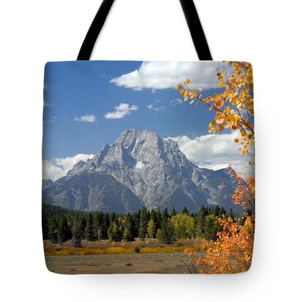 Mount Moran In Autumn Tote Bag by Larry Ricker