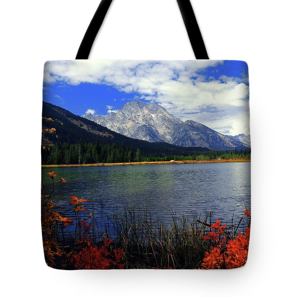 Tote Bag featuring the photograph Mount Moran In The Fall by Raymond Salani III