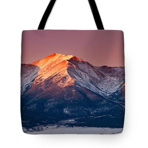 Mount Princeton Moonset At Sunrise Tote Bag
