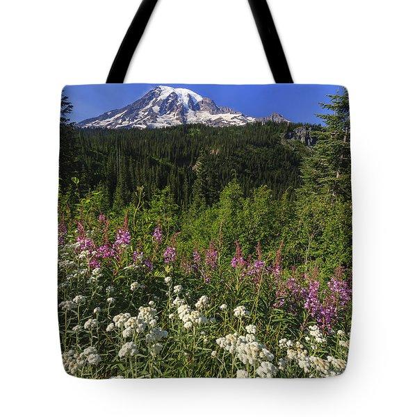 Mount Rainier Tote Bag by Adam Romanowicz