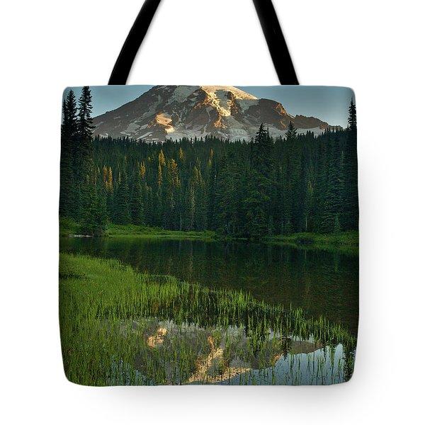 Mount Rainier Dawn Reflection Tote Bag