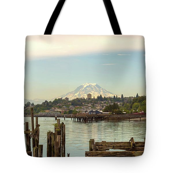 Mount Rainier From City Of Tacoma Washington Waterfront Tote Bag