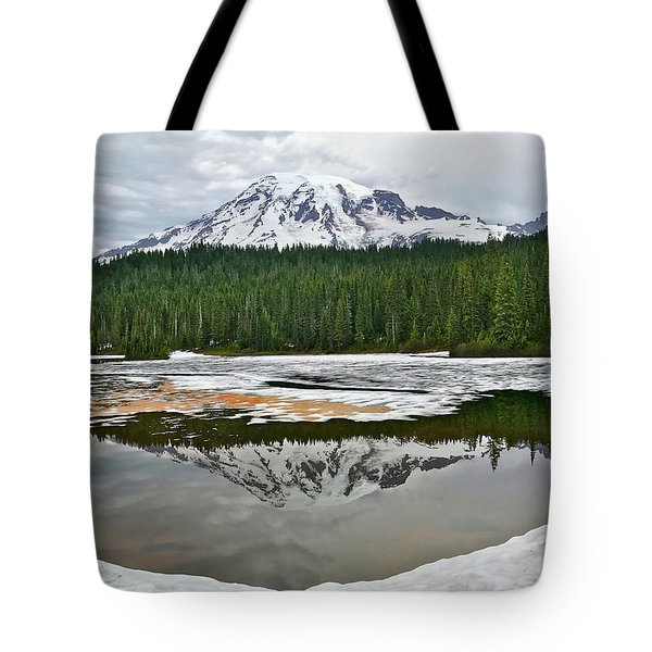 Mount Rainier From Reflection Lakes Tote Bag