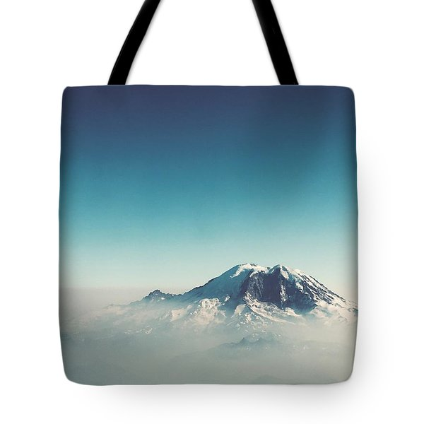 An Aerial View Of Mount Rainier Tote Bag