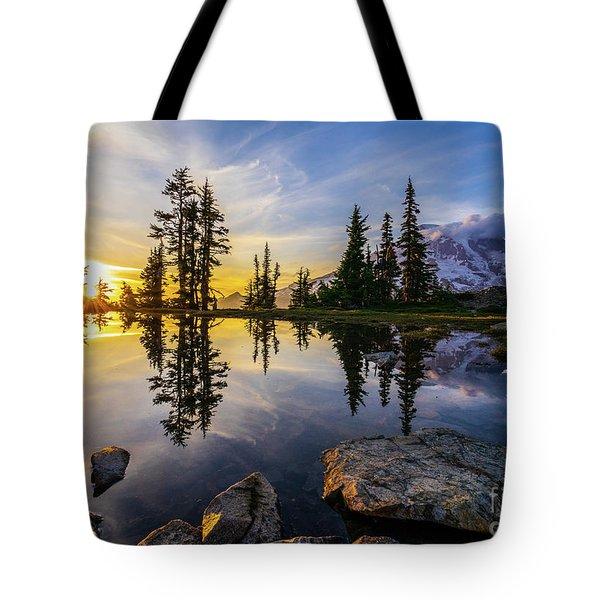 Mount Rainier Photography Golden Light Tarn Tote Bag