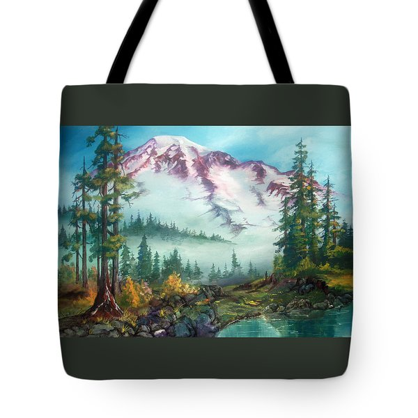 Tote Bag featuring the painting Mount Rainier by Sherry Shipley