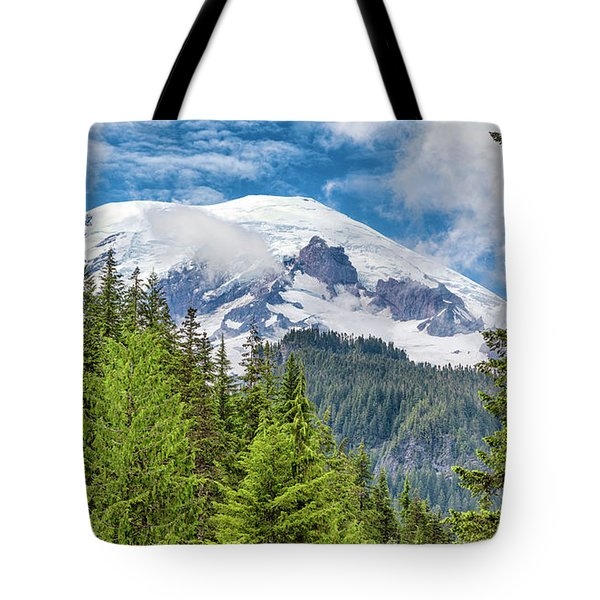 Tote Bag featuring the photograph Mount Rainier View by Stephen Stookey
