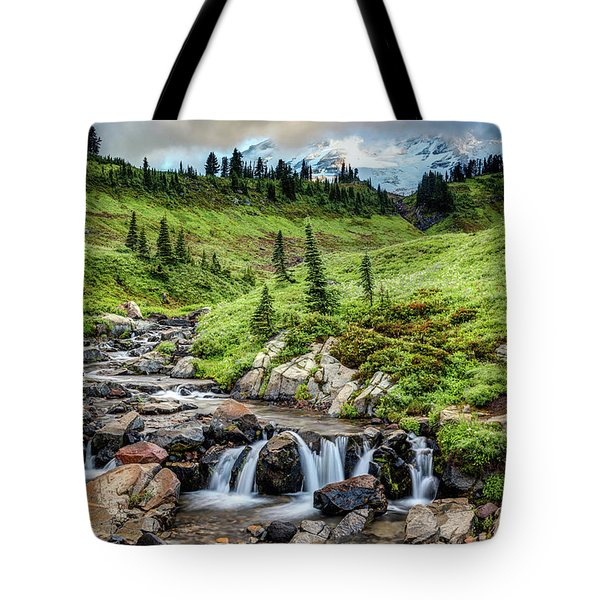Tote Bag featuring the photograph Mount Rainier's Edith Creek by Pierre Leclerc Photography