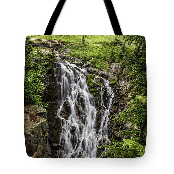 Tote Bag featuring the photograph Mount Rainier's Myrtle Falls by Pierre Leclerc Photography