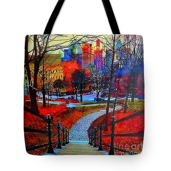 Tote Bag featuring the painting Mount Royal Peel's Exit by Marie-Line Vasseur
