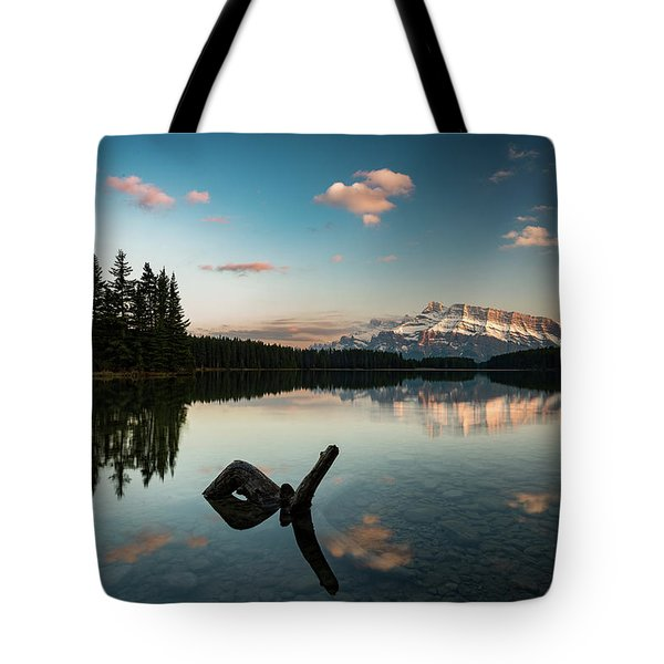 Mount Rundle And Two Jack Lake Tote Bag