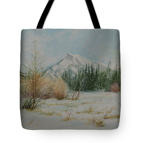 Mount Rundle In Winter Tote Bag