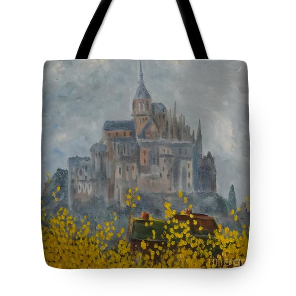 Tote Bag featuring the painting Mount Saint Michael by Rod Ismay