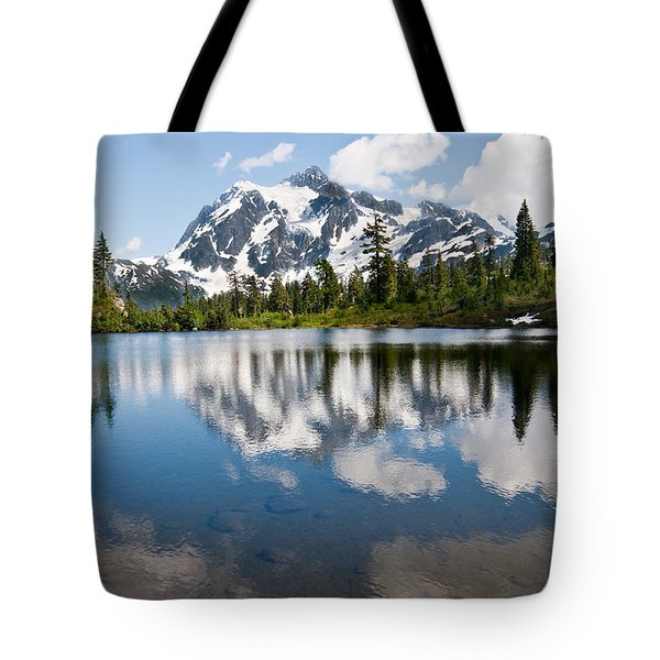 Mount Shuksan Reflected In Picture Lake Tote Bag