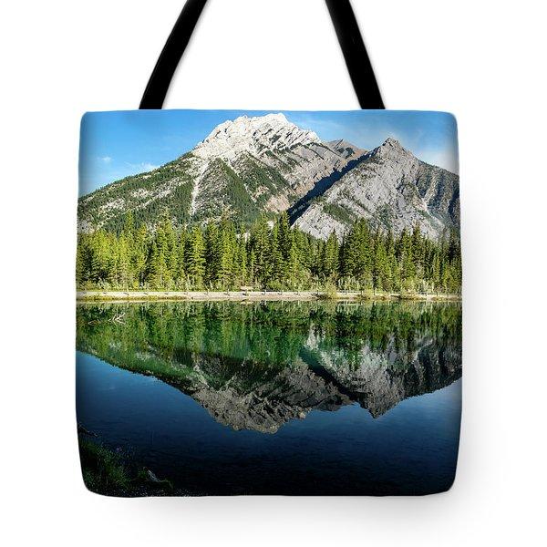 Mount Skogan Reflected In Mount Lorette Ponds, Bow Valley Provin Tote Bag
