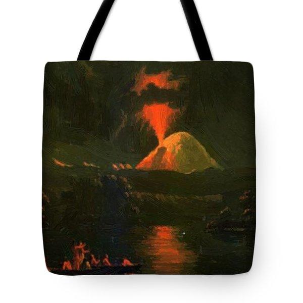 Mount St Helens Erupting At Night Tote Bag