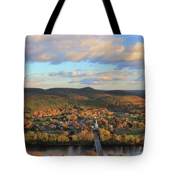 Mount Sugarloaf And Sunderland Autumn Evening Tote Bag by John Burk