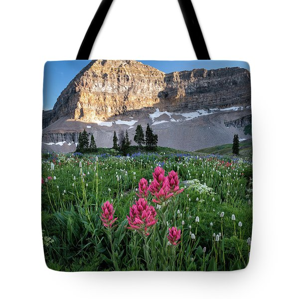 Mount Timpanogos Wildflowers Tote Bag