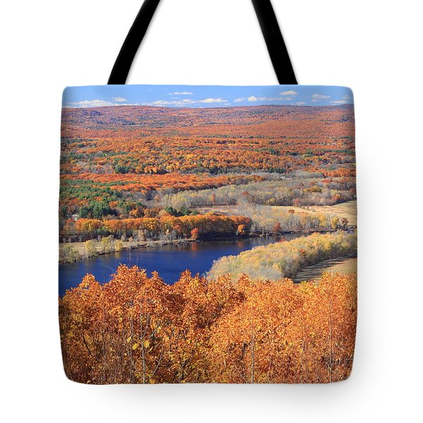 Mount Tom View Of Oxbow In Autumn Tote Bag
