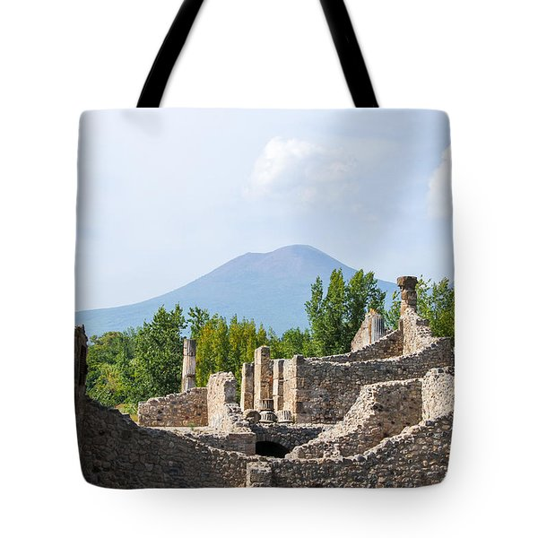 Mount Vesuvius Beyond The Ruins Of Pompei Tote Bag by Allan Levin
