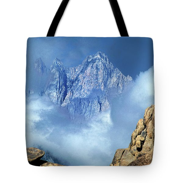 Tote Bag featuring the photograph Mount Whitney Clearing Storm Eastern Sierras California by Dave Welling