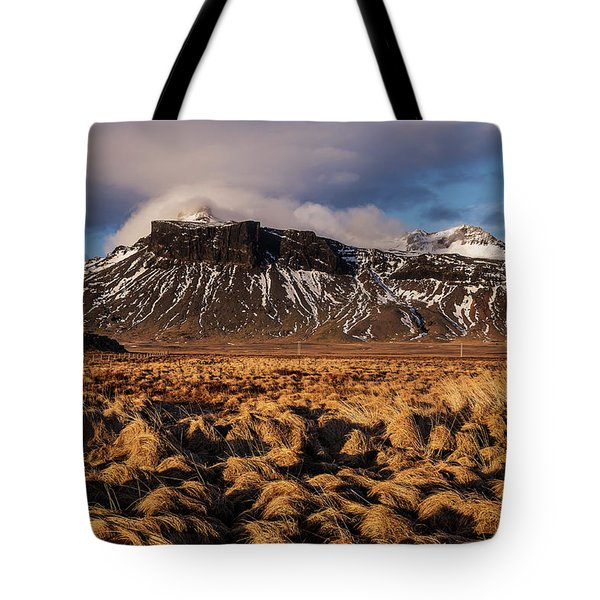 Tote Bag featuring the photograph Mountain And Land, Iceland by Pradeep Raja Prints
