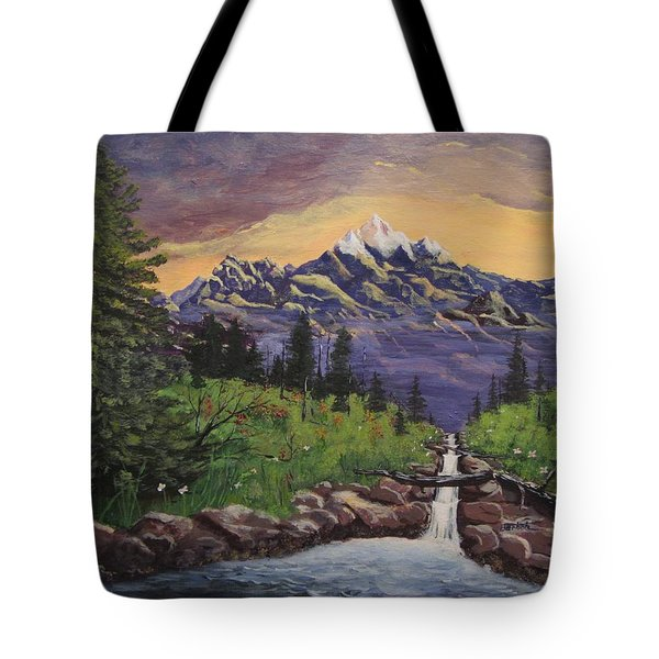 Mountain And Waterfall 2 Tote Bag