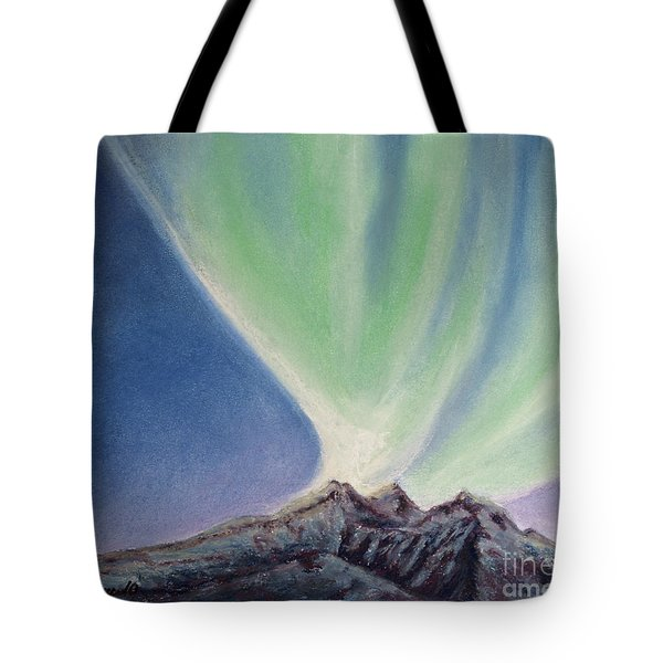 Tote Bag featuring the painting Mountain Aurora by Stanza Widen