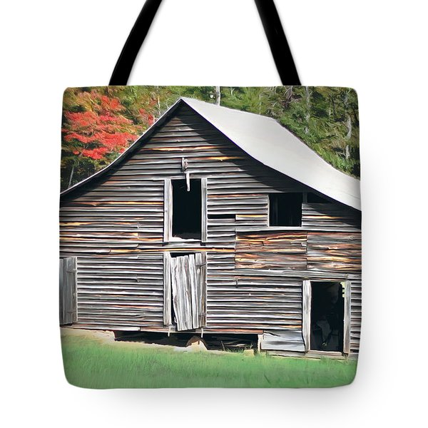 Mountain Barn Tote Bag by Marion Johnson